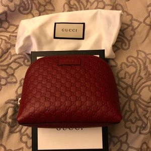 New Gucci Guccissima  Leather Cosmetic Bag Red